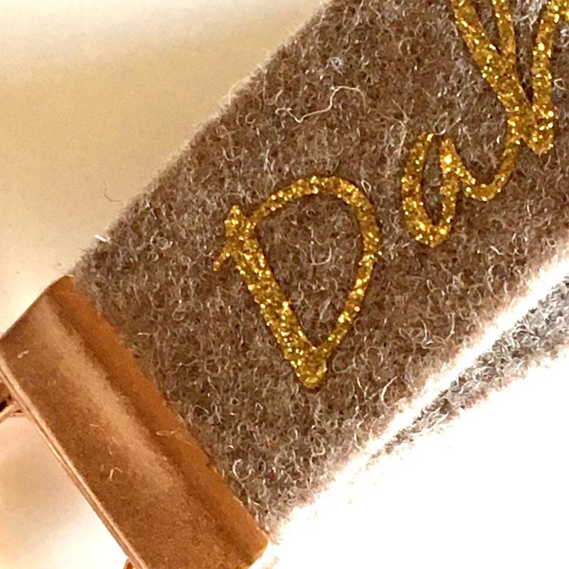 Kleinesbild - Schlüsselanhänger / Schlüsselband aus Wollfilz mit Aufschrift