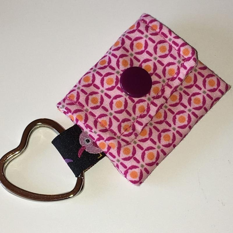 - Chiptasche, Chiptäschchen, Tasche für Einkaufswagenchip, Baumwolle rosa/pink, incl. Federring und Einkaufschip   - Chiptasche, Chiptäschchen, Tasche für Einkaufswagenchip, Baumwolle rosa/pink, incl. Federring und Einkaufschip