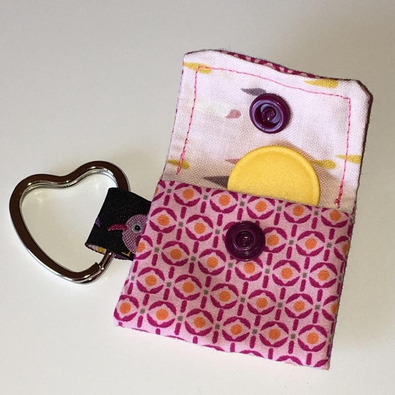 Kleinesbild - Chiptasche, Chiptäschchen, Tasche für Einkaufswagenchip, Baumwolle rosa/pink, incl. Federring und Einkaufschip