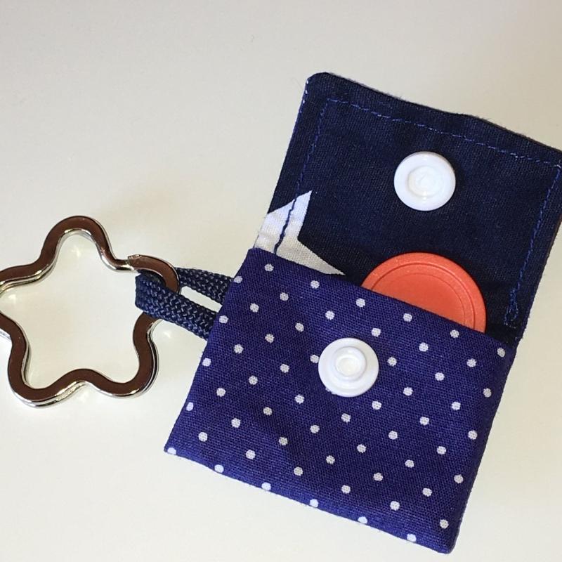 Kleinesbild - Chiptasche, Chiptäschchen, Tasche für Einkaufswagenchip, Baumwolle marine/weiß, incl. Federring und Einkaufschip