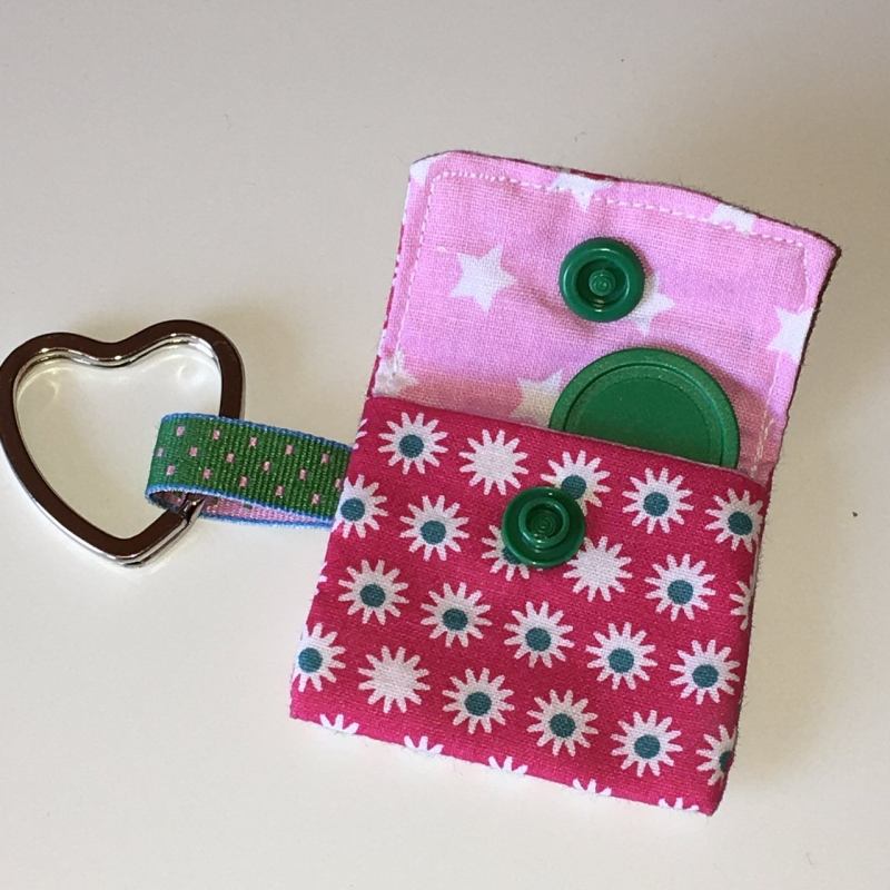 Kleinesbild - Chiptasche, Chiptäschchen, Tasche für Einkaufswagenchip, Baumwolle pink/grün, incl. Federring und Einkaufschip