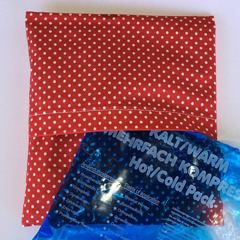 Kleinesbild - Genähter Bezug incl. Kalt/Warm Kompresse, aus Baumwolle, Hülle, Wärmekissen, Kältekissen, Coolpad, aus Baumwolle Rakete rot/blau