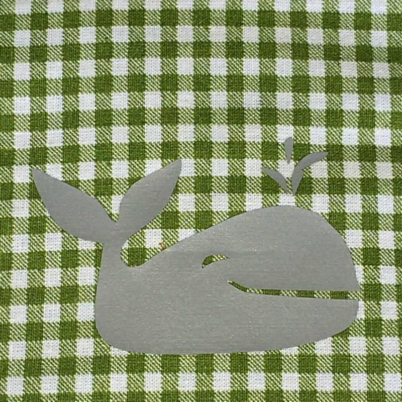 Kleinesbild - Genähter Bezug incl. Kalt/Warm Kompresse, aus Baumwolle, Hülle, Wärmekissen, Kältekissen, Coolpad, Wal, grün/silber