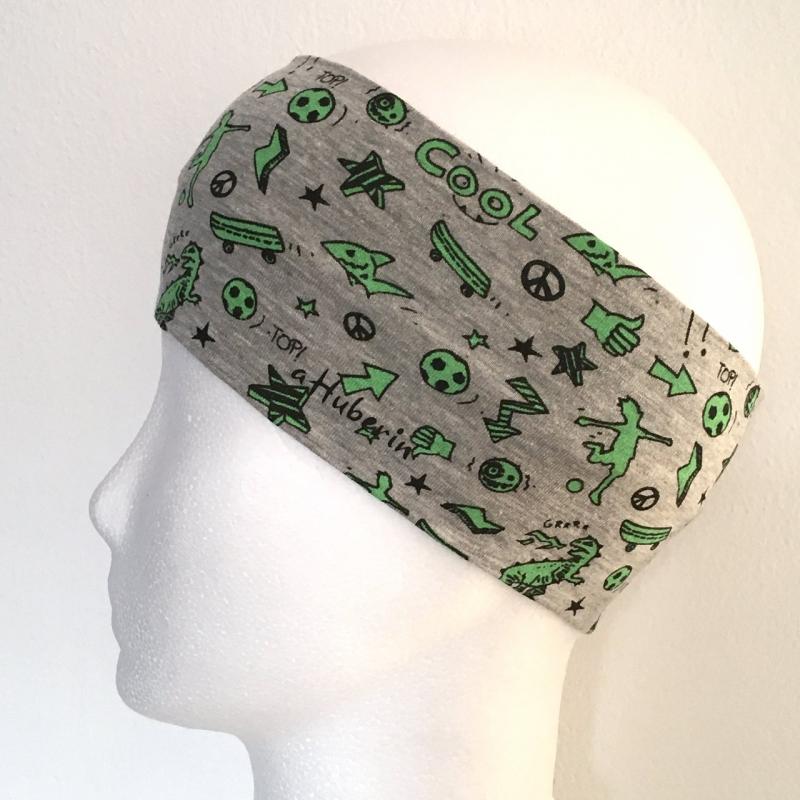 - Kinderstirnband, Haarband, Ohrenwärmer, Kopfband, Jersey, 47-49 cm, Comic grau/grün - Kinderstirnband, Haarband, Ohrenwärmer, Kopfband, Jersey, 47-49 cm, Comic grau/grün