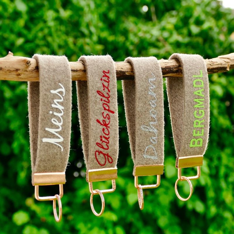 Kleinesbild - Uriger Schlüsselanhänger, Schlüsselband, Schlüsselband aus Wollfilz mit Aufschrift - Drahtesel - beigebraun/blau  (Kopie id: 100283615)