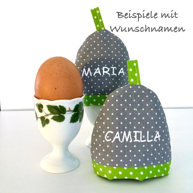 Kleinesbild - 2-er Set Eierwärmer, Eierhütchen, Eiermütze, handgefertigt, personalisierbar, Baumwolle, grau / rosa