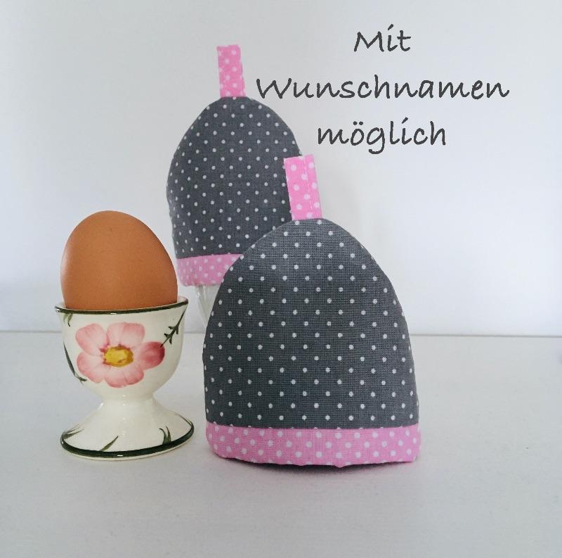 - 2-er Set Eierwärmer, Eierhütchen, Eiermütze, handgefertigt, personalisierbar, Baumwolle, grau / rosa - 2-er Set Eierwärmer, Eierhütchen, Eiermütze, handgefertigt, personalisierbar, Baumwolle, grau / rosa