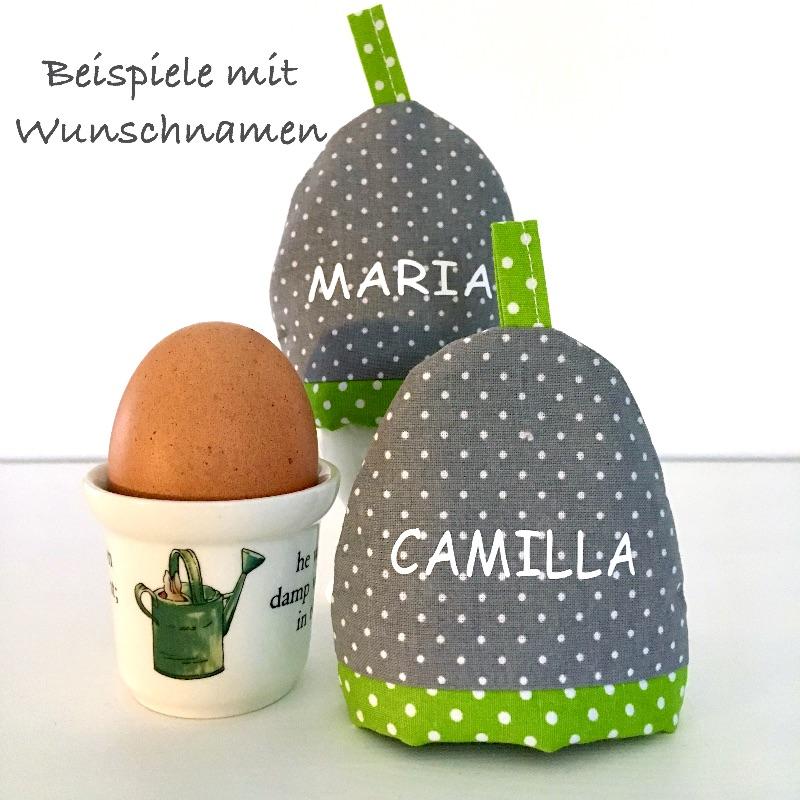 Kleinesbild - 2-er Set Eierwärmer mit Namen, Eierhütchen, Eiermütze, handgefertigt, personalisierbar, Baumwolle, grau / blau