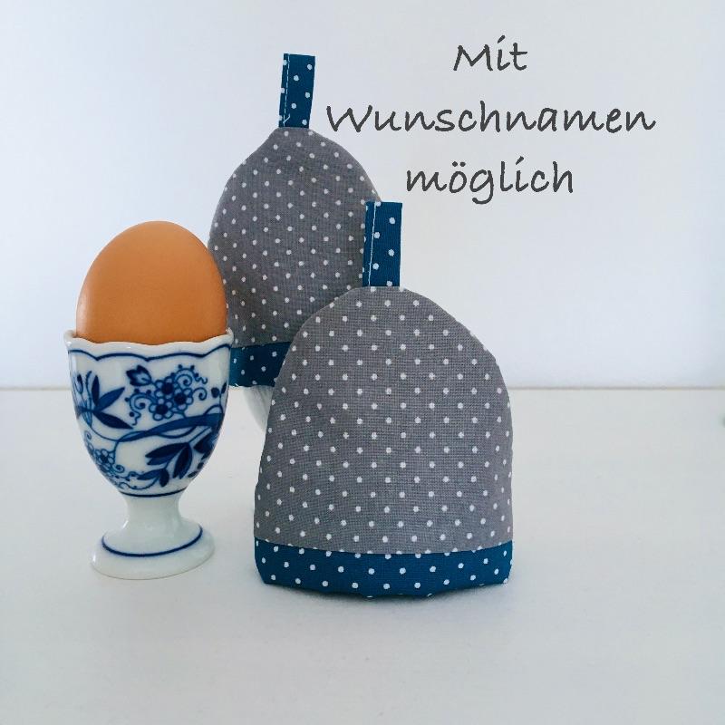 - 2-er Set Eierwärmer mit Namen, Eierhütchen, Eiermütze, handgefertigt, personalisierbar, Baumwolle, grau / blau - 2-er Set Eierwärmer mit Namen, Eierhütchen, Eiermütze, handgefertigt, personalisierbar, Baumwolle, grau / blau