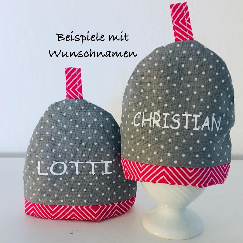 Kleinesbild - 2-er Set Eierwärmer mit Namen, Eierhütchen, Eiermütze, handgefertigt, personalisierbar, Baumwolle, grau / pink Rautenmuster