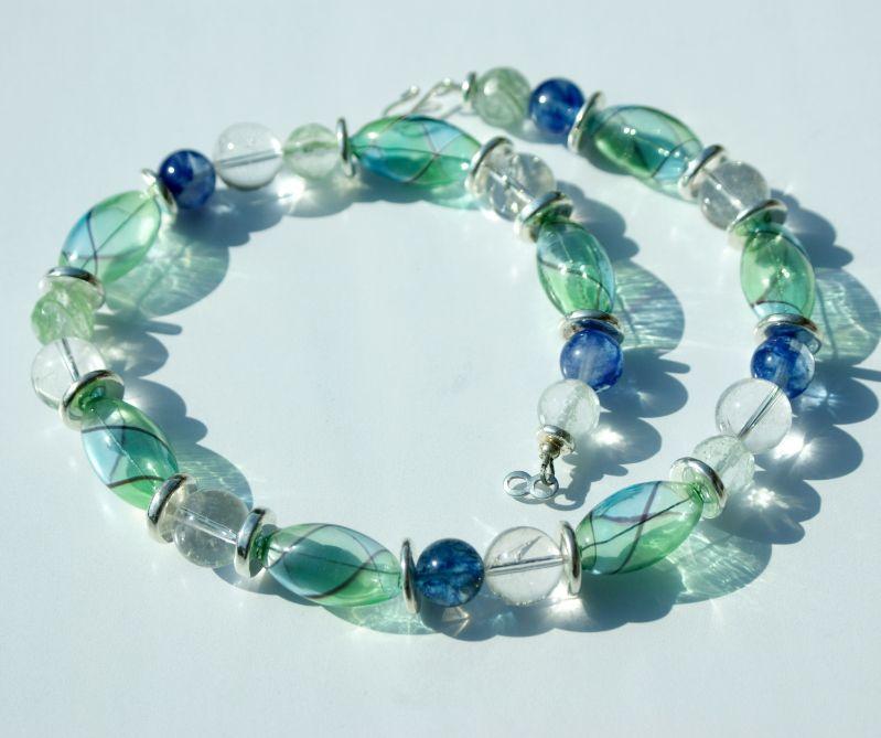 - Traumcollier mundgeblasenes Glas, Quarz, Bergkristall Halskette - Traumcollier mundgeblasenes Glas, Quarz, Bergkristall Halskette