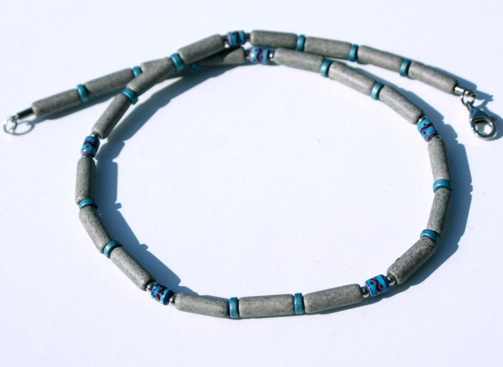 - Halskette für Männer GRAU schmal Keramik Leder ethno Peru Edelstahl  - Halskette für Männer GRAU schmal Keramik Leder ethno Peru Edelstahl
