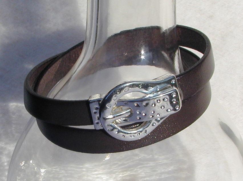 Kleinesbild - Wickel-Armband ARM-GÜRTEL Leder Mann grau-braun lässig originell Armband