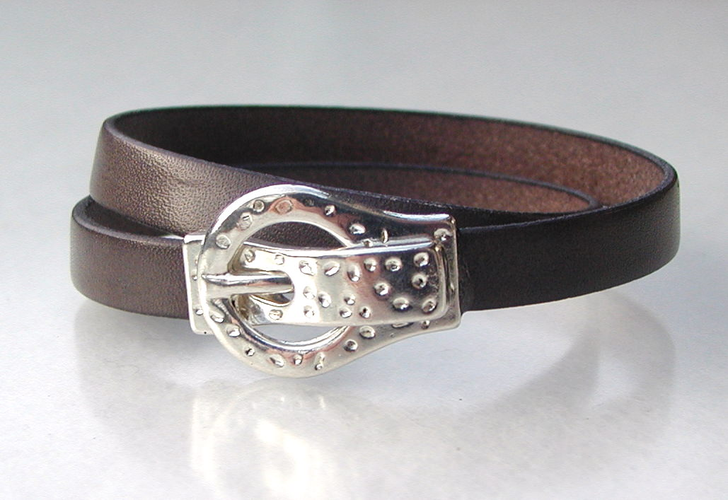 - Wickel-Armband ARM-GÜRTEL Leder Mann grau-braun lässig originell Armband - Wickel-Armband ARM-GÜRTEL Leder Mann grau-braun lässig originell Armband