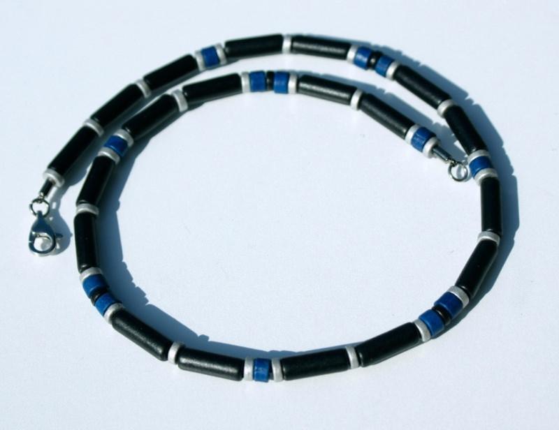 Kleinesbild - Männer-Kette SCHWARZ-BLAU-SILBERGRAU  Keramik Leder schmal leicht Edelstahl schlicht