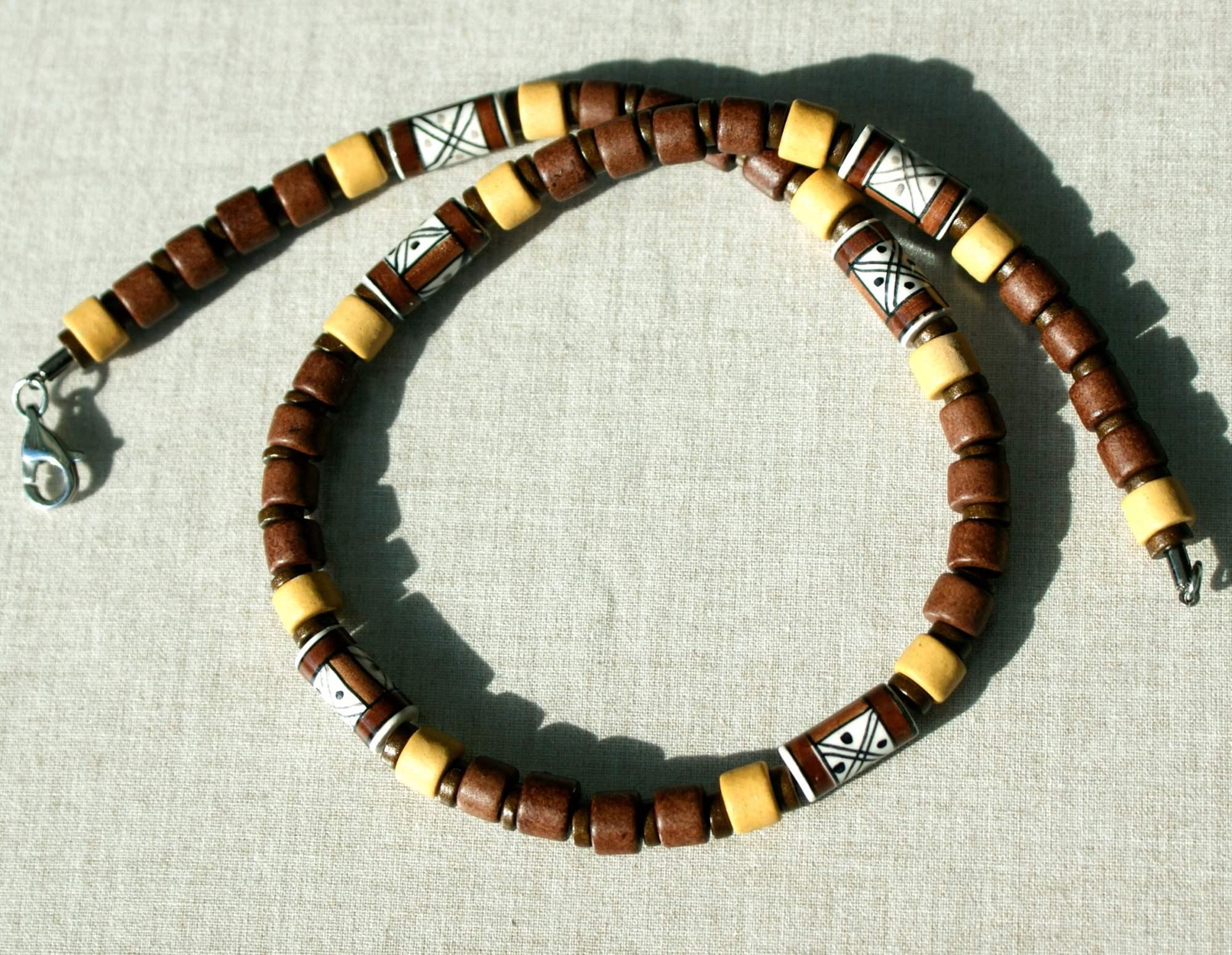 Kleinesbild - Kette für Männer  BRAUNTÖNE   Keramik Leder Edelstahl Peru handbemalt schmal leicht schlicht dezent
