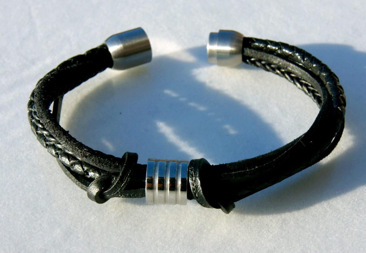 Kleinesbild - Männer-Armband Schwarz-Mix KNOTEN  Leder Edelstahl Rindleder Büffeleder lässig ausgefallen