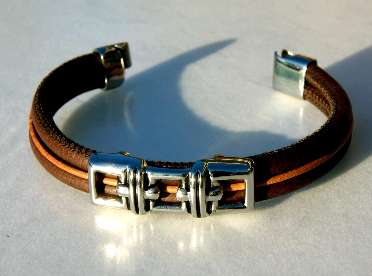Kleinesbild - Männer-Armband Nappa Edelstahl DUNKELBRAUN dreifach Rindleder Schmuckteil lässig maskulin elegant
