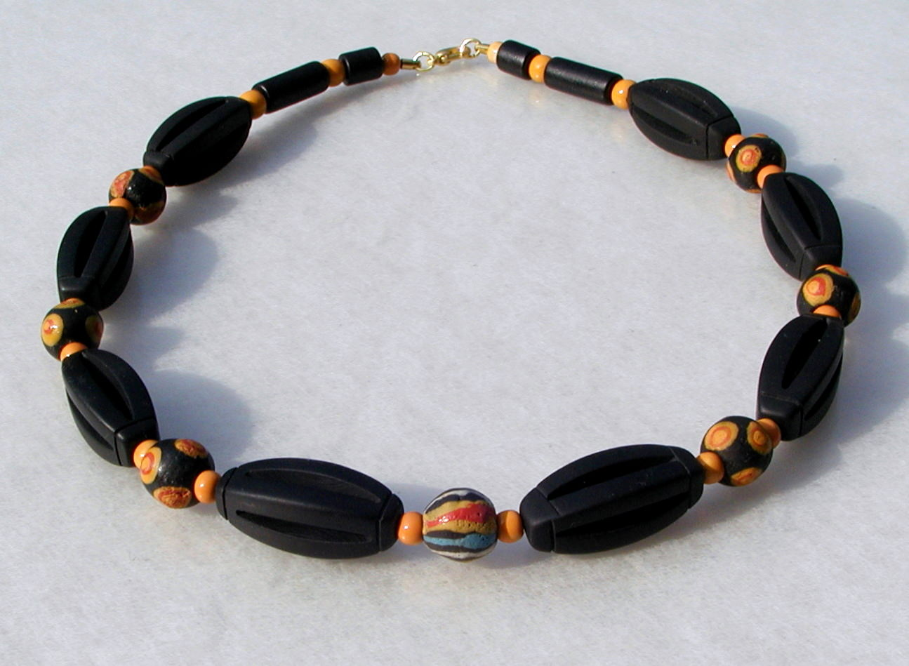 Kleinesbild - Halskette  AFRIKA SCHWARZ-ORANGE Onyx Krobo-Perlen Keramik