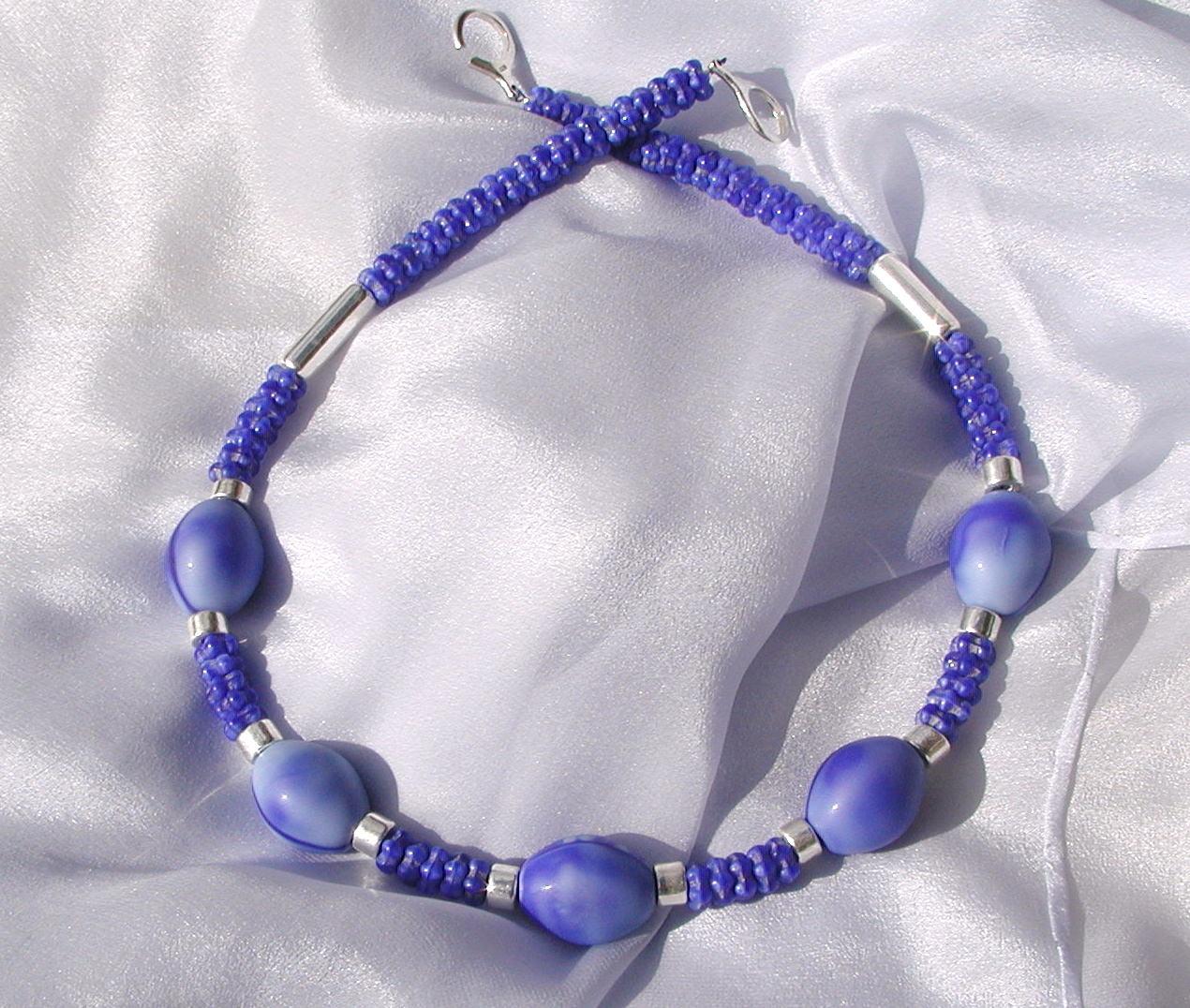 Kleinesbild - Halskette AFRIKA BLAU  Handelsperlen, Keramik versilbert 925erSilber Unikat