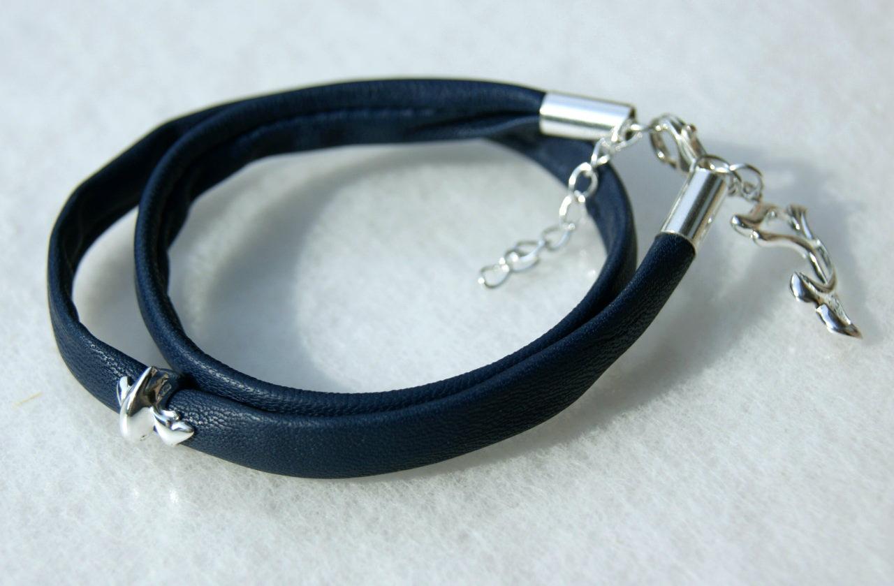 Kleinesbild -  Wickelarmband DELPHIN  Nappa-Leder Silber
