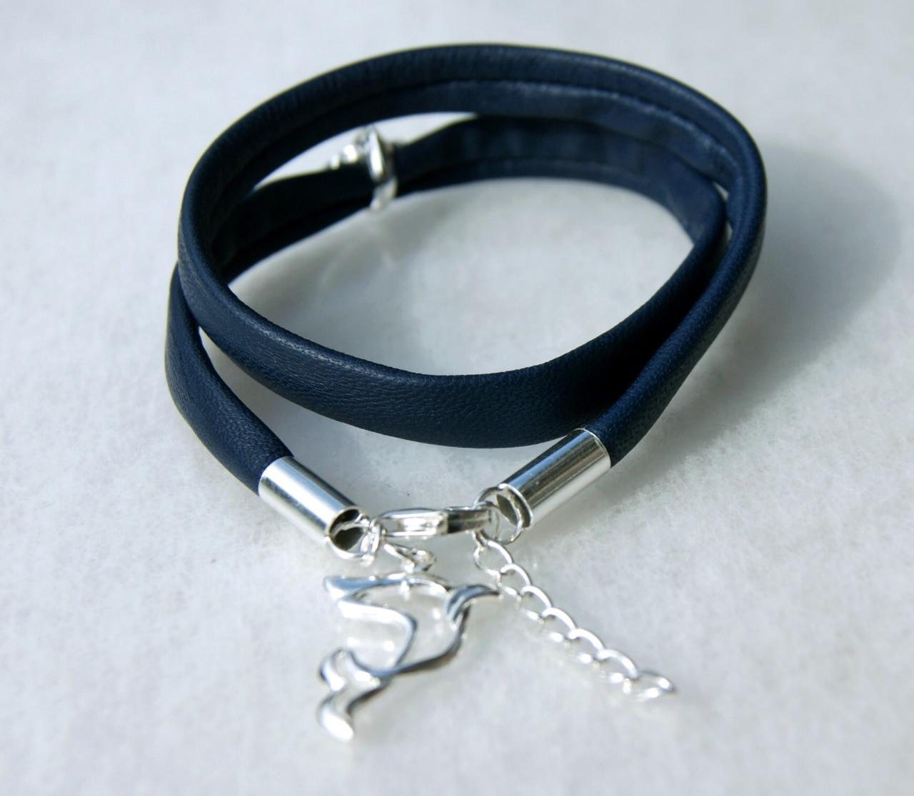-  Wickelarmband DELPHIN  Nappa-Leder Silber -  Wickelarmband DELPHIN  Nappa-Leder Silber