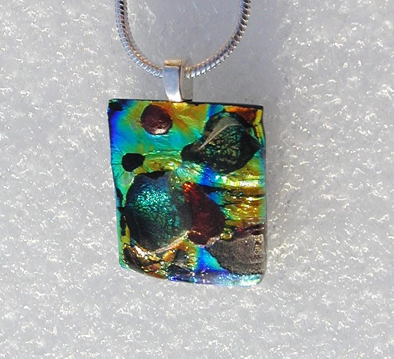 Kleinesbild - Anhänger MOSAIK-LANDSCHAFT dichroitisches Glas