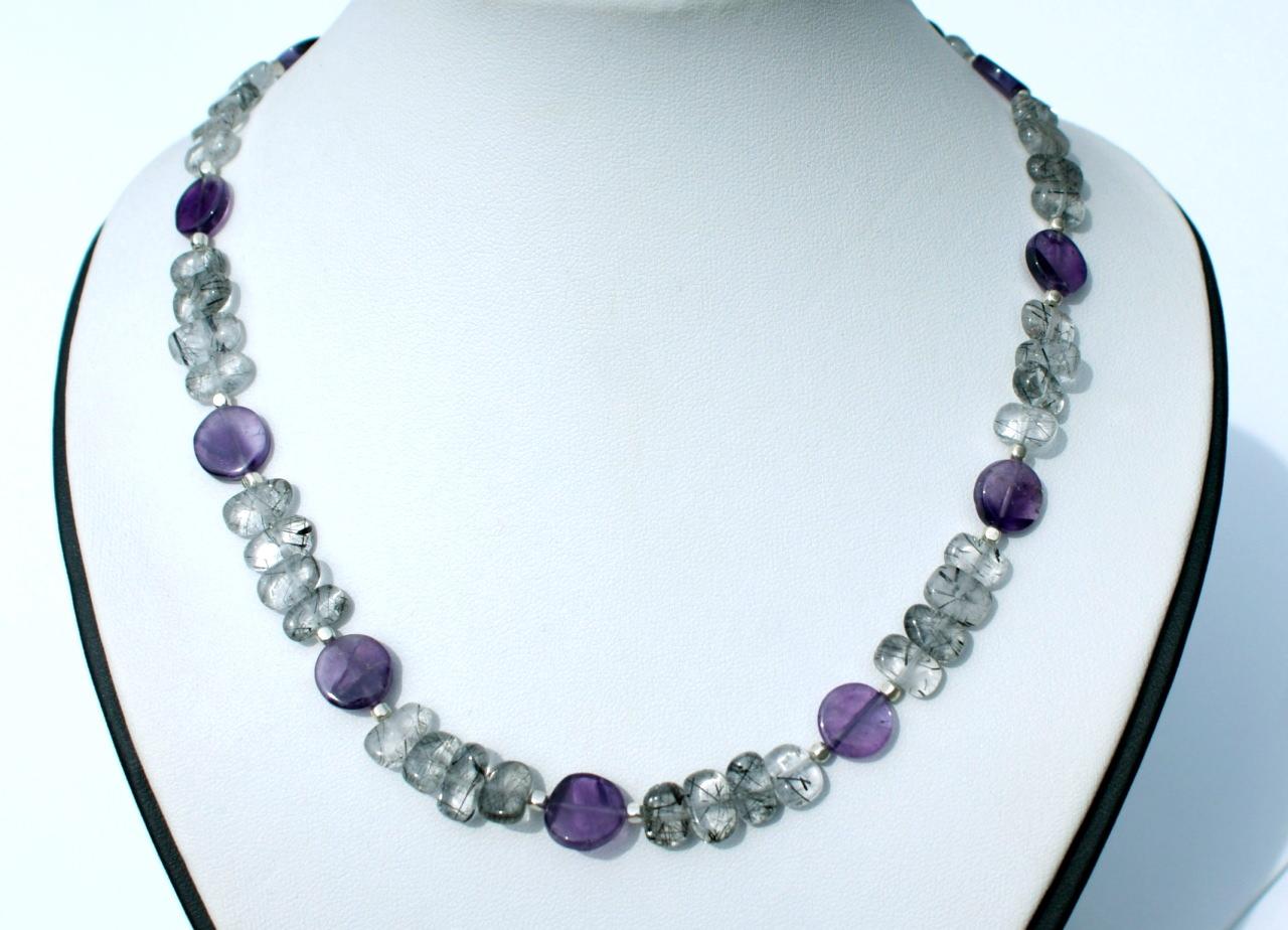 Kleinesbild - elegante Halskette mit Amethyst und Turmalinquarz