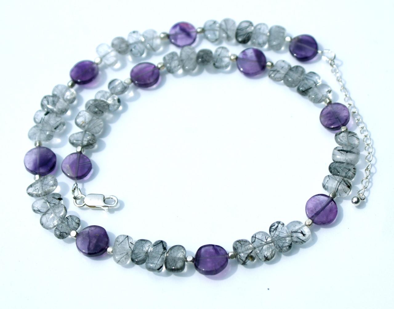 - elegante Halskette mit Amethyst und Turmalinquarz - elegante Halskette mit Amethyst und Turmalinquarz
