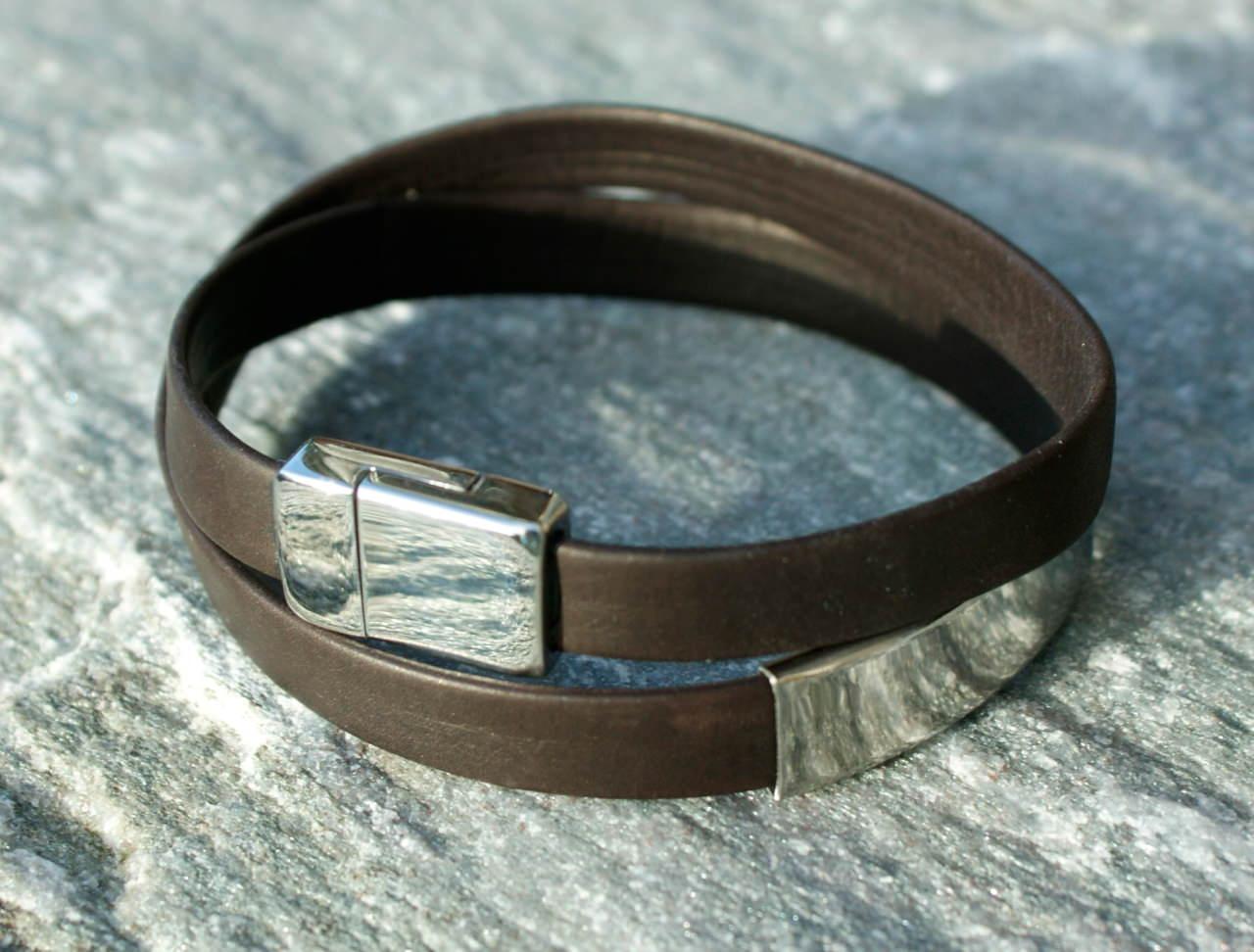 Kleinesbild - Männer Wickel-Armband Nappa-Leder braun, Edelstahl schlicht elegant