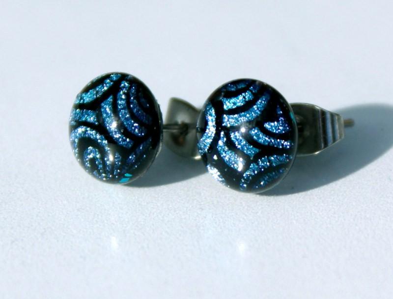 Kleinesbild - Ohrstecker Mini-Dots Tiger blau