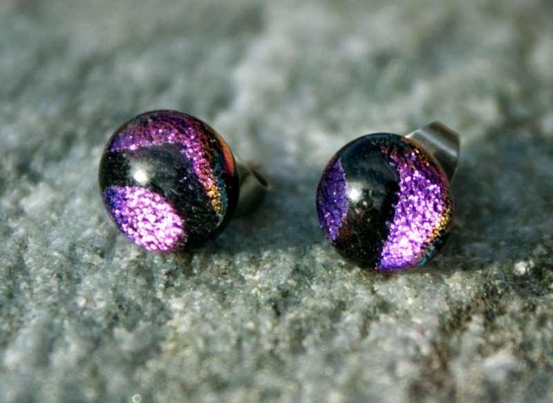 - Ohrstecker Mini-Dots Violett-Schwarz - Ohrstecker Mini-Dots Violett-Schwarz