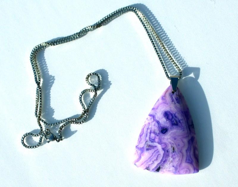 Kleinesbild - Crazy Lace Achat Anhänger mit Edelstahlkette flieder violett