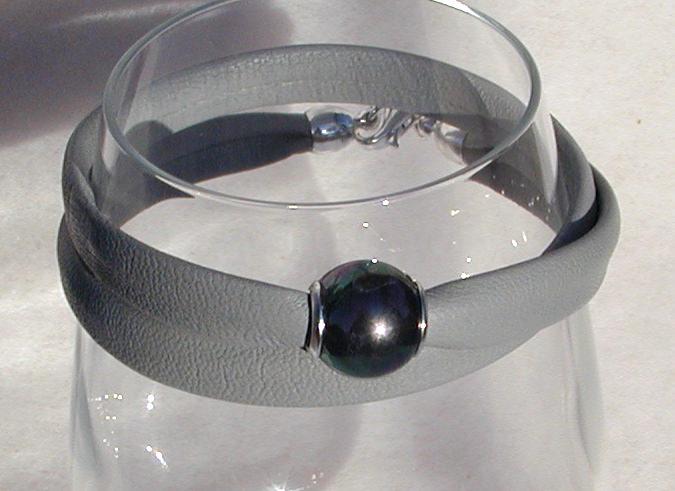Kleinesbild - elegantes Wickelarmband Nappa-Leder, Silber