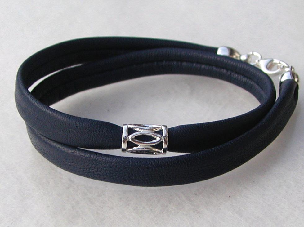 Kleinesbild - edles Wickelarmband Nappa-Leder dunkelblau  925er Silber