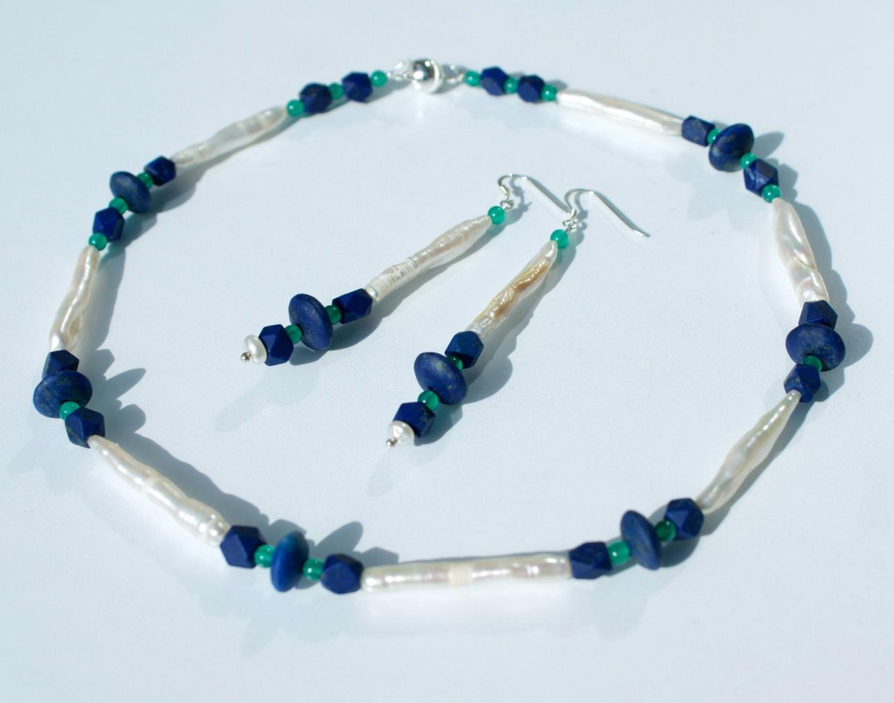 Kleinesbild - zauberhafte Halskette mit ZUCHTPERLEN und LAPIS