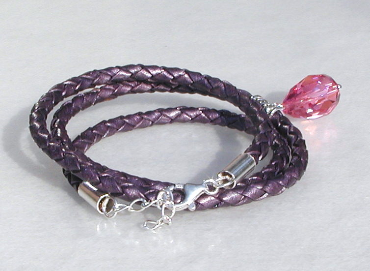 Kleinesbild - elegantes Wickel-Armband 3fach Leder 925er Silber