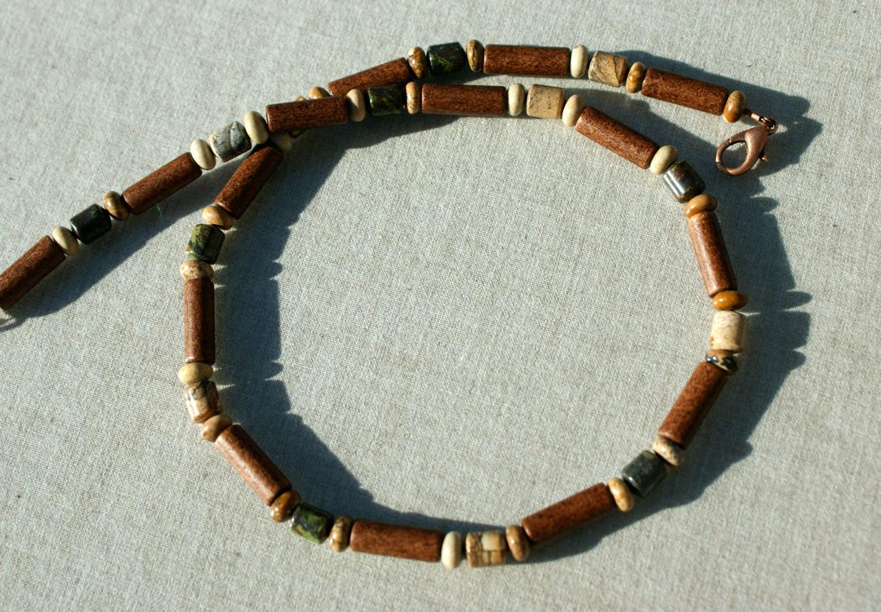 Kleinesbild -  BRAUNE Männer Kette Jaspis Keramik beige grün Steinschmuck dezent