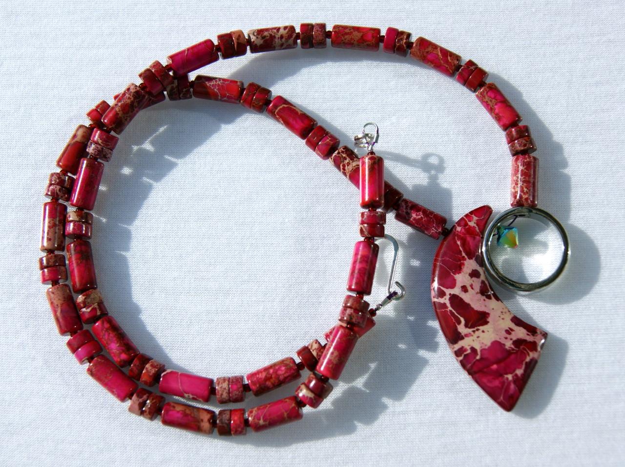 Kleinesbild - Kette SEGEL rot Sediment - Jaspis Ring Edelstahl Edelsteinschmuck