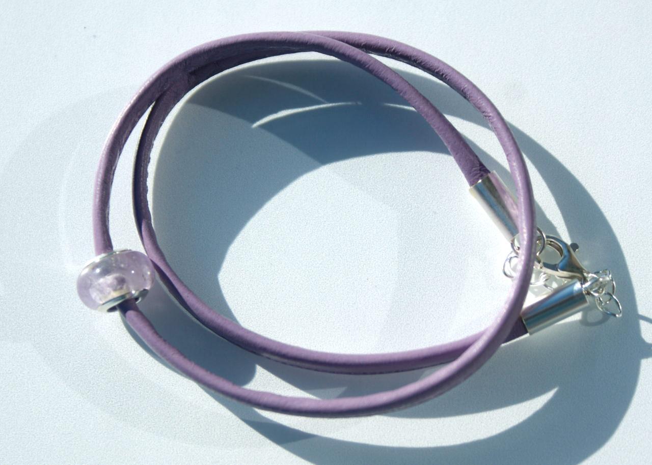 Kleinesbild - Wickelarmband AMETHYST Nappa-Leder 925er Silber