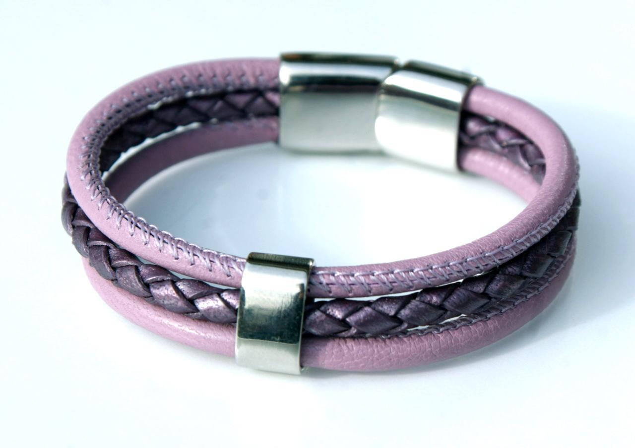 - Armband dreifach mit Nappa-Leder und Edelstahl  - Armband dreifach mit Nappa-Leder und Edelstahl