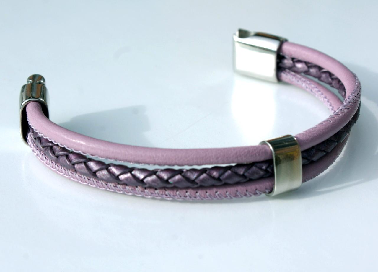 Kleinesbild - Armband dreifach mit Nappa-Leder und Edelstahl
