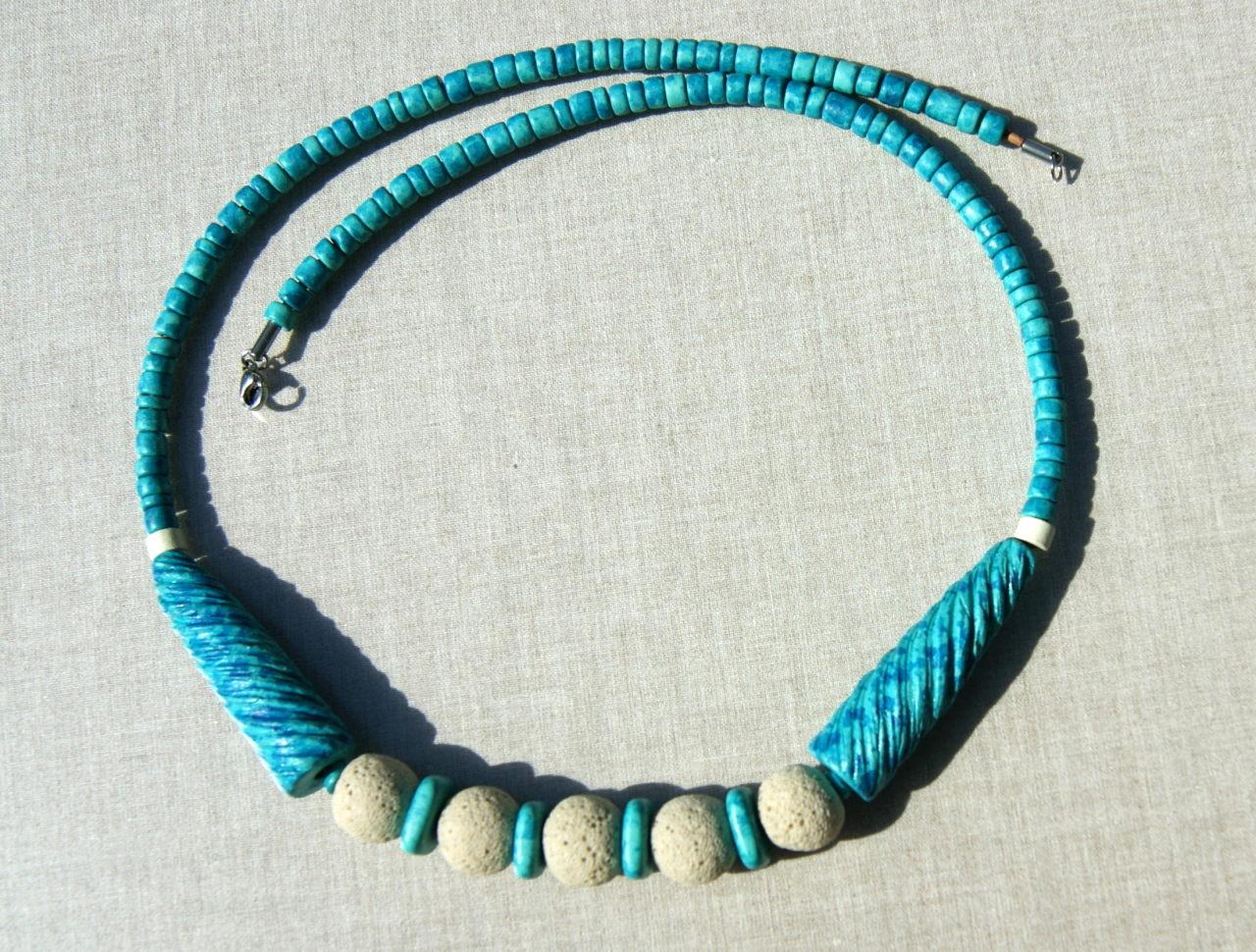 Kleinesbild - Kette mit Keramik, Lava und Leder