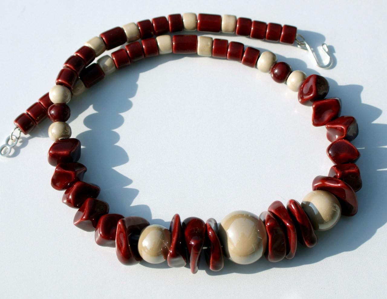 Kleinesbild - Collier ROT-SAND griechische Keramik Leder opulent leicht