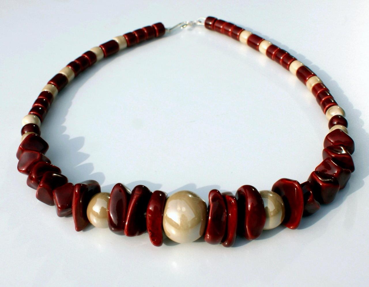 - Collier ROT-SAND griechische Keramik Leder opulent leicht  - Collier ROT-SAND griechische Keramik Leder opulent leicht