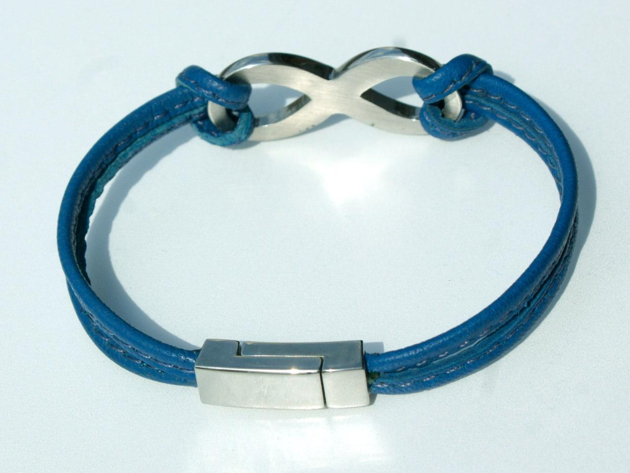 Kleinesbild - Armband INFINITY Nappa-Leder blau  Edelstahl