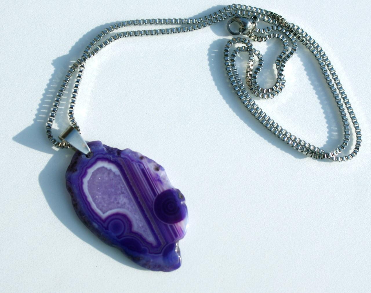 Kleinesbild - ACHAT Anhänger violett mit Edelstahlkette