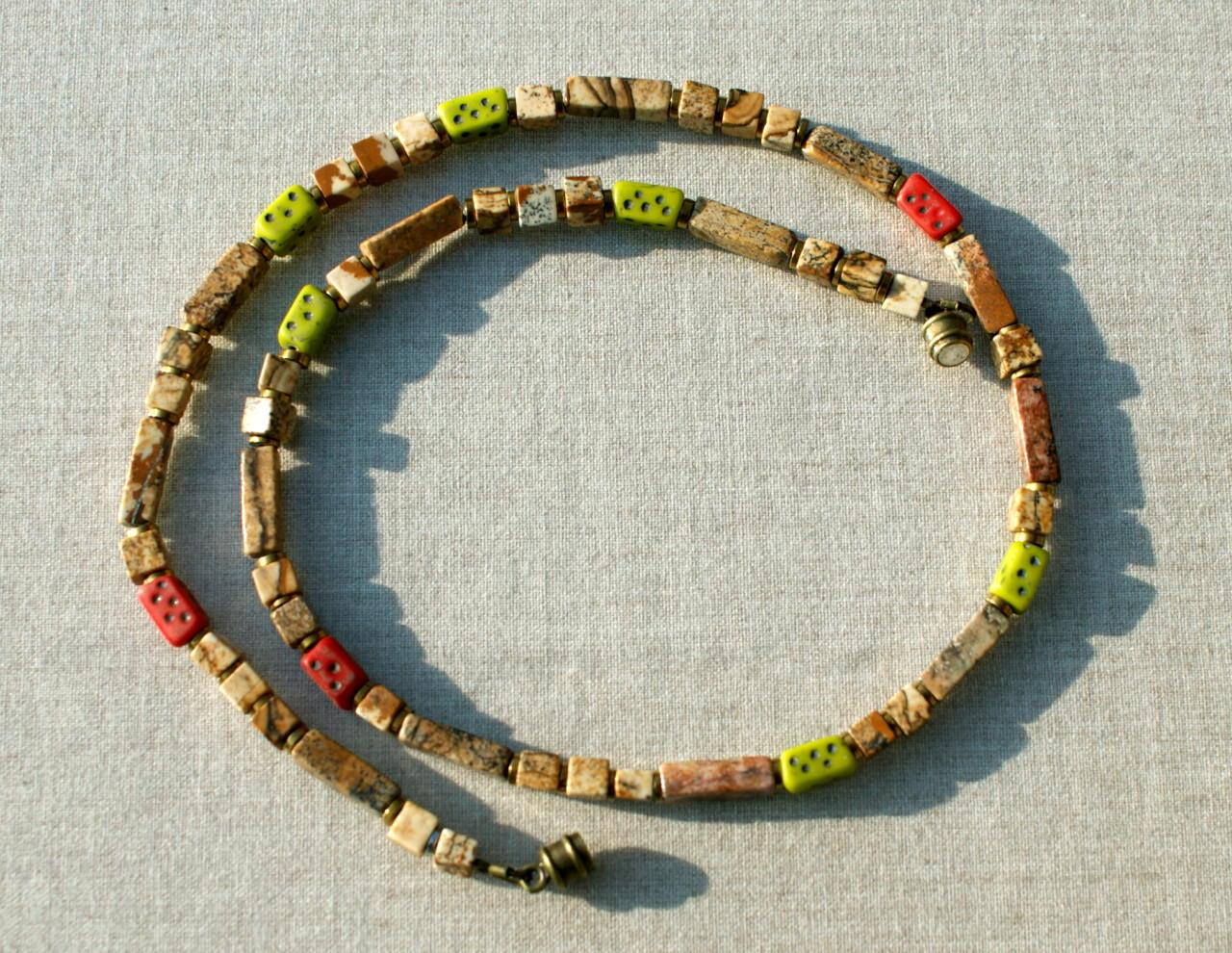 - schmale Kette mit Jaspis und afrikanischen Perlen - schmale Kette mit Jaspis und afrikanischen Perlen
