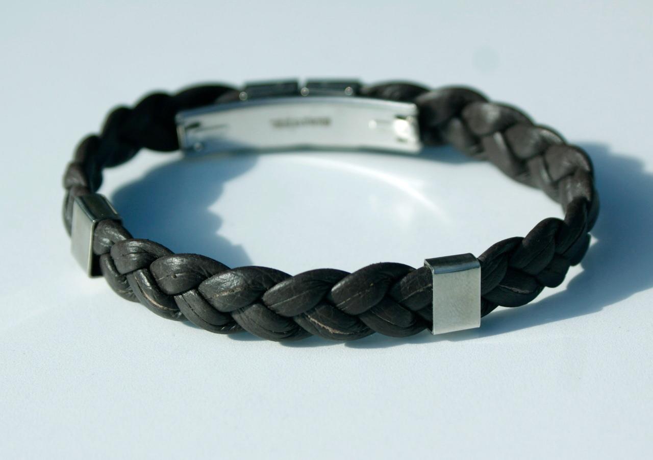 Kleinesbild - Männer Armband Nappa-Leder geflochten Edelstahl