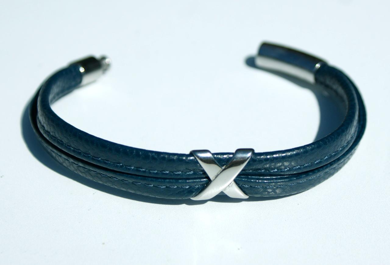 Kleinesbild - Männer Armband KREUZ Nappa-Leder blau Edelstahl